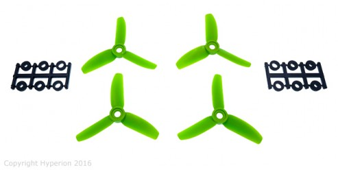 3X3 Bullnose Style Three Blade Prop Green (CW & CCW 2 Pairs)